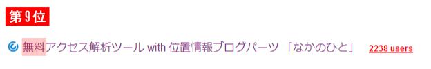 無料アクセス解析ツール with 位置情報ブログパーツ 「なかのひと」