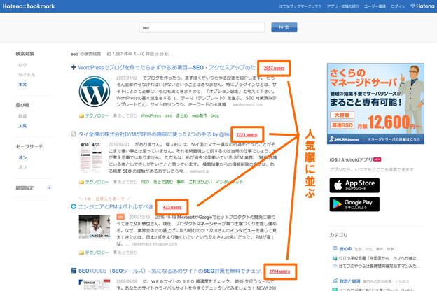 はてなブックマークの検索結果画面(人気順)